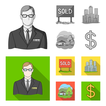 Employee of the agency, sold, metropolis, country house. set collection icons in monochrome,flat style vector symbol stock illustration web. Illustration