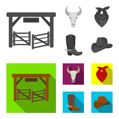 Gates, a bull skull, a scarf around his neck, boots with spurs. Rodeo set collection icons in monochrome,flat style vector symbol stock illustration web.