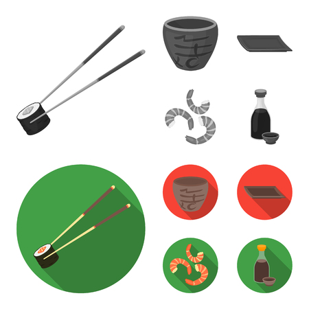 Sticks, shrimp, substrate, bowl.Sushi set collection icons in monochrome,flat style vector symbol stock illustration web. Illustration