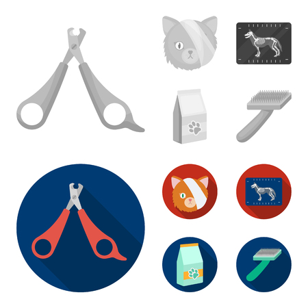 Scissors, cat, bandage, wounded .Vet Clinic set collection icons in monochrome,flat style vector symbol stock illustration web.