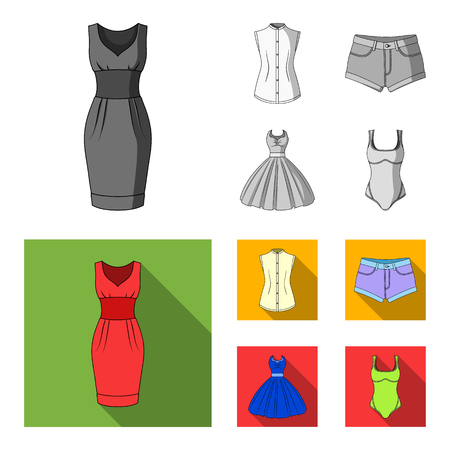 Women Clothing monochrome,flat icons in set collection for design.Clothing Varieties and Accessories vector symbol stock web illustration.