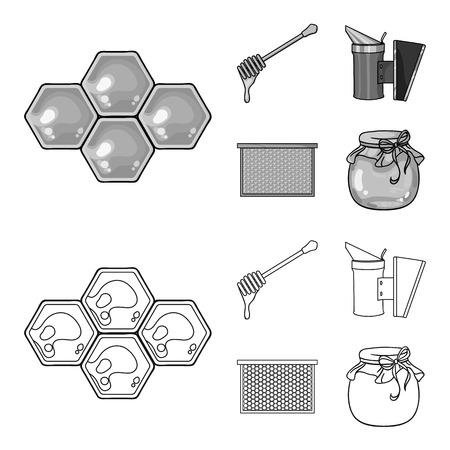 A frame with honeycombs, a ladle of honey, a fumigator from bees, a jar of honey.Apiary set collection icons in outline,monochrome style vector symbol stock illustration web.