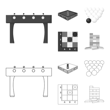 Board game outline,monochrome icons in set collection for design. Game and entertainment vector symbol stock web illustration.