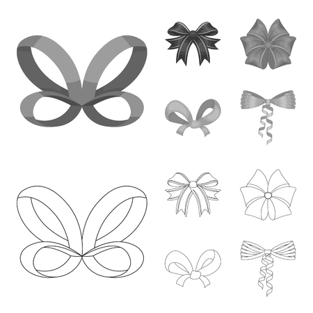 Bow, ribbon, decoration, and other web icon in outline,monochrome style. Gift, bows, node, icons in set collection.