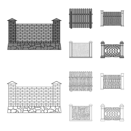 A fence of metal and bricks,wooden palisade. A different fence set collection icons in outline,monochrome style vector symbol stock illustration web.
