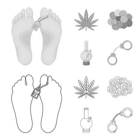 Hemp leaf, ecstasy pill, handcuffs, bong.Drug set collection icons in outline,monochrome style vector symbol stock illustration web.