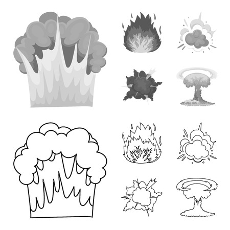 Flame, sparks, hydrogen fragments, atomic or gas explosion. Explosions set collection icons in outline,monochrome style vector symbol stock illustration web.