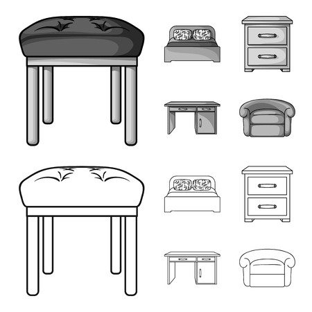 Interior, design, bed, bedroom .Furniture and home interiorset collection icons in outline,monochrome style vector symbol stock illustration web. Stock Illustratie