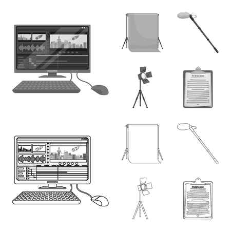 Hromakey, script and other equipment. Making movies set collection icons in outline,monochrome style vector symbol stock illustration web.
