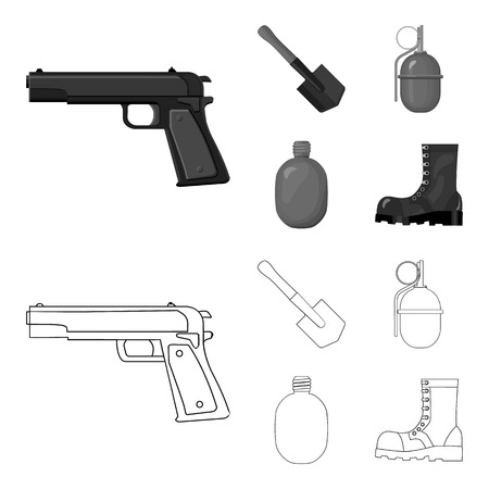 Sapper blade, hand grenade, army flask, soldier boot. Military and army set collection icons in outline,monochrome style vector symbol stock illustration web. Ilustração