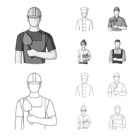 Cook, painter, teacher, locksmith mechanic.Profession set collection icons in outline,monochrome style vector symbol stock illustration .