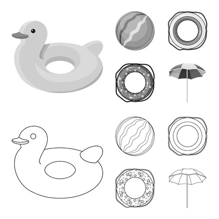 Multicolored swimming circle outline,monochrome icons in set collection for design. Different lifebuoys vector symbol stock  illustration.