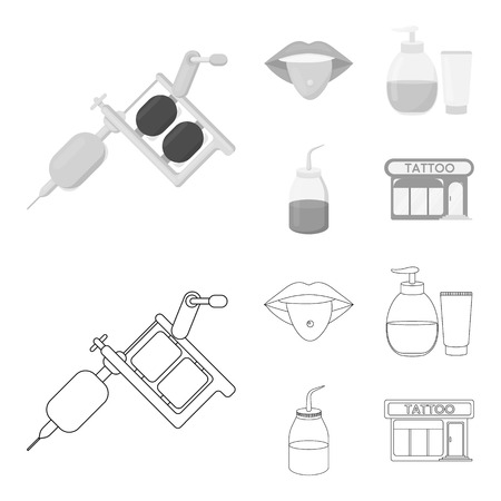 Piercing in tongue, gel, sallon. Tattoo set collection icons in outline,monochrome style vector symbol stock illustration .