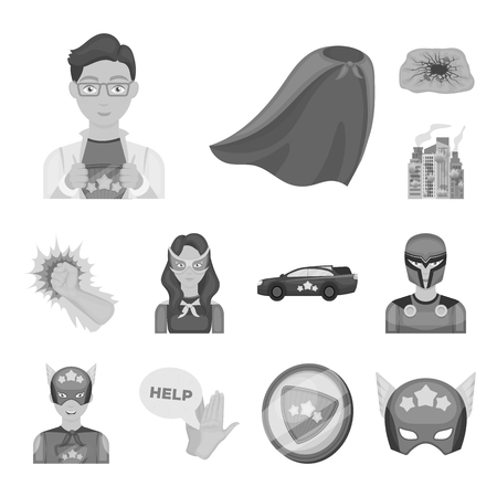 A fantastic superhero monochrome icons in set collection for design. Superhero equipment vector symbol stock illustration.
