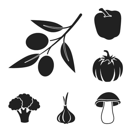 Different kinds of vegetables black icons in set collection for design. Vegetables and vitamins vector symbol stock illustration.