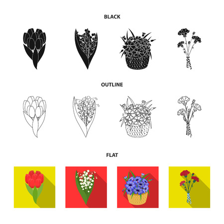 A bouquet of fresh flowers black,flat,outline icons in set collection for design. Various bouquets vector symbol stock  illustration.