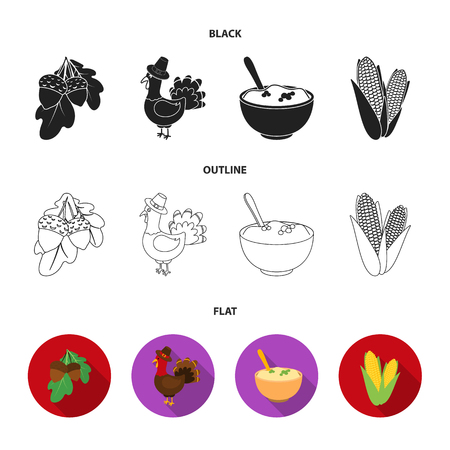 Acorns, corn.arthene puree, festive turkey,Canada thanksgiving day set collection icons in black,flat,outline style vector symbol stock illustration .