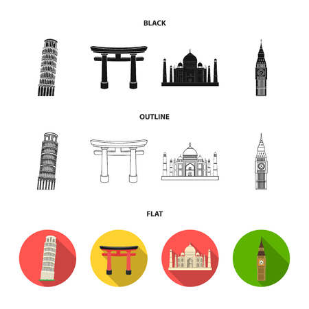 Sights of different countries black,flat,outline icons in set collection for design. Famous building vector symbol stock  illustration. Illusztráció