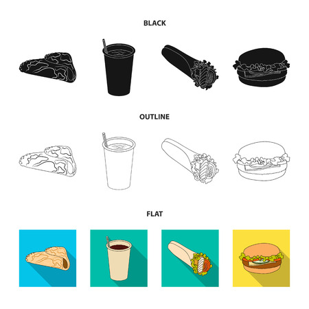 Fast, meal, eating and other  icon in black,flat,outline style.Pancakes, flour, products icons in set collection Illustration
