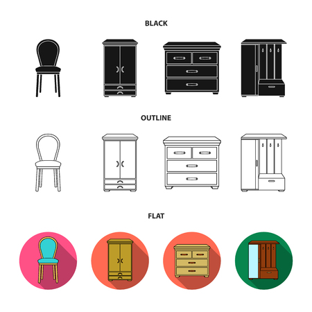 Armchair, cabinet, bedside, table .Furniture and home interiorset collection icons in black,flat,outline style vector symbol stock illustration .