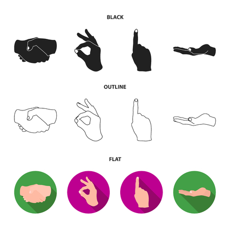 Handshake, okay, index up, palm. Hand gesturesv set collection icons in black,flat,outline style vector symbol stock illustration . Ilustrace
