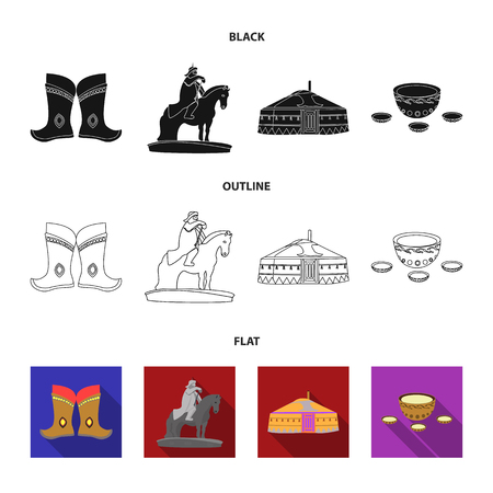 Military boots, a monument to the rider, a national tent, a milk drink. Mongolia set collection icons in black,flat,outline style vector symbol stock illustration . Иллюстрация