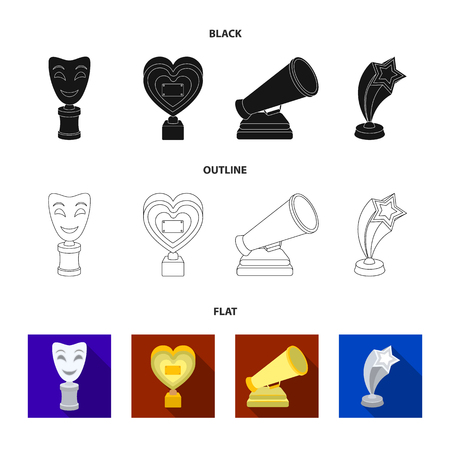 White Mask Mime for the best drama, a prize in the form of the heart and other prizes.Movie awards set collection icons in black,flat,outline style vector symbol stock illustration .