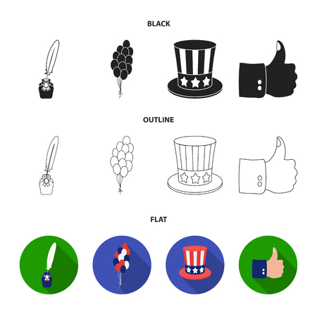 Balloons, inkwell with a pen, Uncle Sam hat. The patriot day set collection icons in black,flat,outline style vector symbol stock illustration web. Vettoriali
