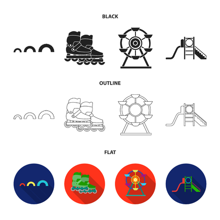 Ferris wheel with ladder, scooter. Playground set collection icons in black,flat,outline style vector symbol stock illustration .