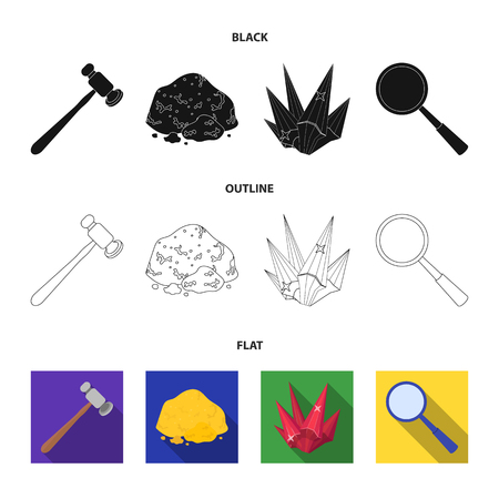 A jeweler hammer, a magnifier, a copper ore, a crystal. Precious minerals and a jeweler set collection icons in black,flat,outline style vector symbol stock illustration .