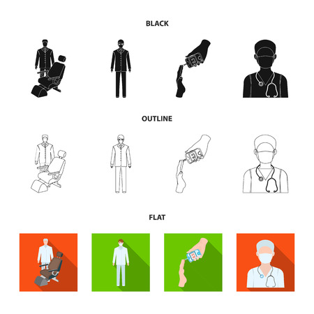 Doctor in a face mask, dentist, medical staff, a blood test for sugar. Medicineset collection icons in black,flat,outline style vector symbol stock illustration web. Illustration