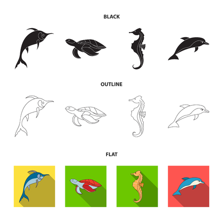 Merlin, turtle and other species.Sea animals set collection icons in black,flat,outline style vector symbol stock illustration web.