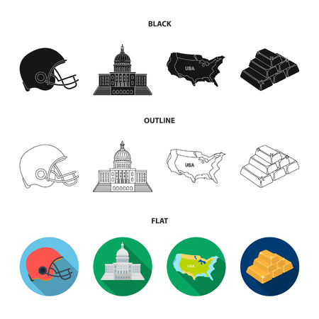 Football player helmet, capitol, territory map, gold and foreign exchange. USA Acountry set collection icons in black,flat,outline style vector symbol stock illustration web.  イラスト・ベクター素材