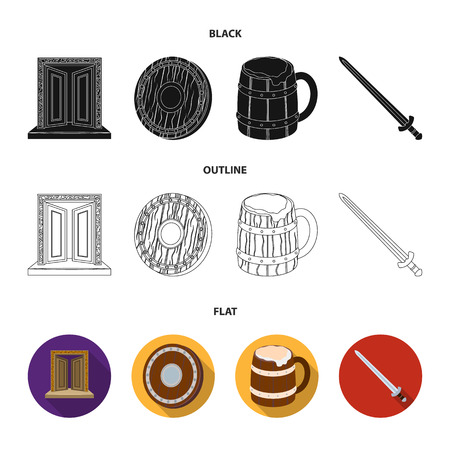 A gate to the treasure, a shield for protection, a mug with a bra, a sword. Vikings set collection icons in black,flat,outline style vector symbol stock illustration web.