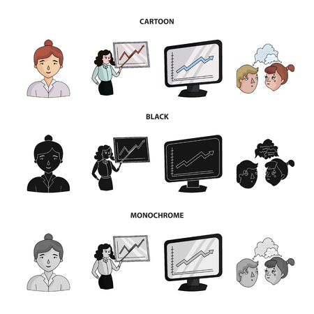Businesswoman, growth charts, brainstorming.Business-conference and negotiations set collection icons in cartoon,black,monochrome style vector symbol stock illustration web. Иллюстрация