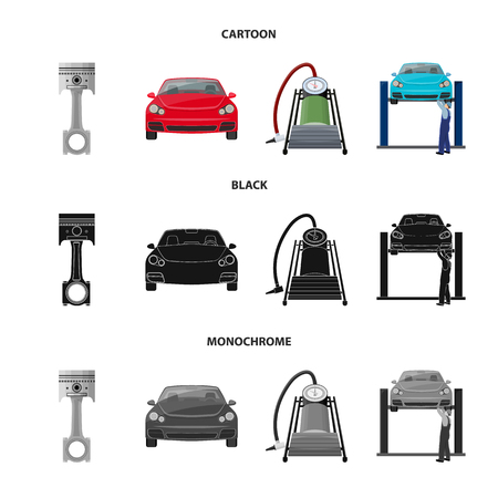 Car on lift, piston and pump cartoon,black,monochrome icons in set collection for design.Car maintenance station vector symbol stock illustration web. Vectores