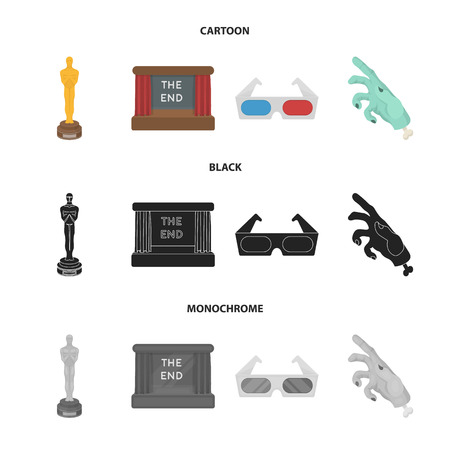 Award Oscar, movie screen, 3D glasses. Films and film set collection icons in cartoon,black,monochrome style vector symbol stock illustration web.