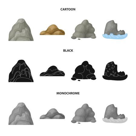 Keien, een ronde berg, rotsen in de zee. Verschillende bergen instellen collectie iconen in de tekenfilm, zwart, zwart-wit stijl vector symbool stock illustratie web.