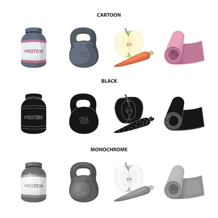Protein, vitamins and other equipment for training.Gym and workout set collection icons in cartoon,black,monochrome style vector symbol stock illustration web.