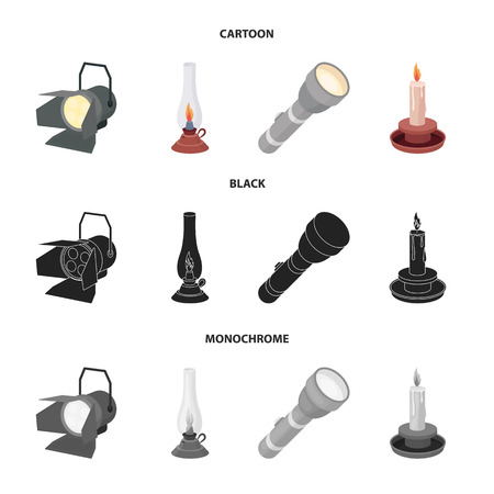 Searchlight, kerosene lamp, candle, flashlight.Light source set collection icons in cartoon,black,monochrome style vector symbol stock illustration web.
