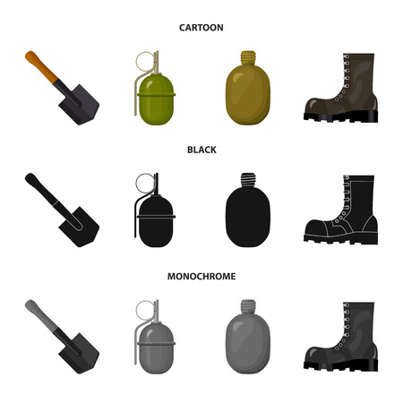Sapper blade, hand grenade, army flask, soldier boot. Military and army set collection icons in cartoon,black,monochrome style vector symbol stock illustration web.