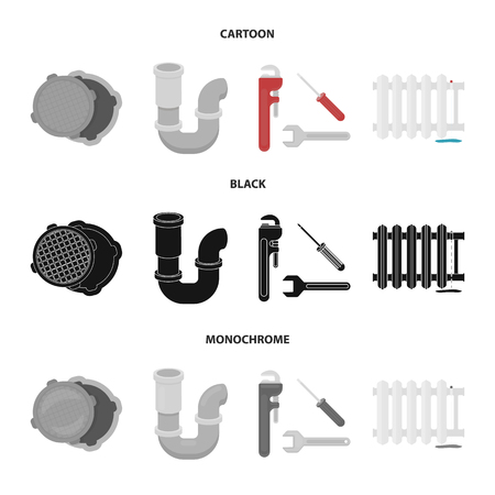 Sewage hatch, tool, radiator.Plumbing set collection icons in cartoon,black,monochrome style vector symbol stock illustration web.