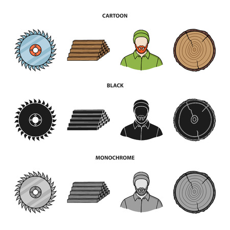 Circular saw, a working carpenter, a stack of logs. A sawmill and timber set collection icons in cartoon,black,monochrome style vector symbol stock illustration web. Ilustrace