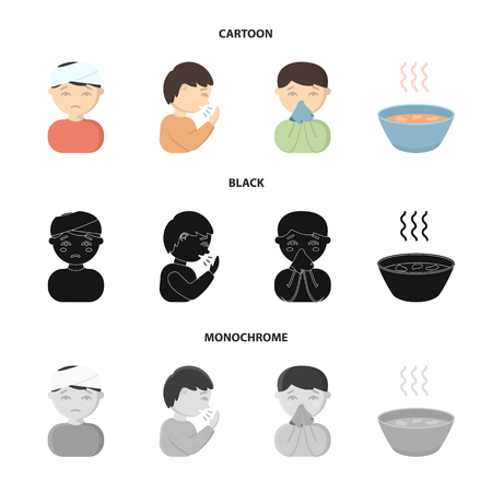 A man with a bandaged head, a man coughing, a man snorts a snot, a bowl, a bowl of hot broth into a handkerchief. Sick set collection icons in cartoon,black,monochrome style vector symbol stock illustration web. Stock Illustratie
