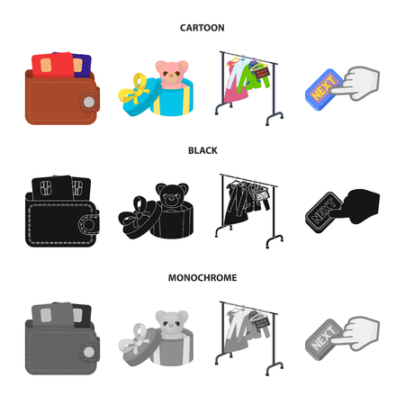 Purse with credit cards and other web icon in cartoon,black,monochrome style. gift sale of things, button more icons in set collection. Иллюстрация