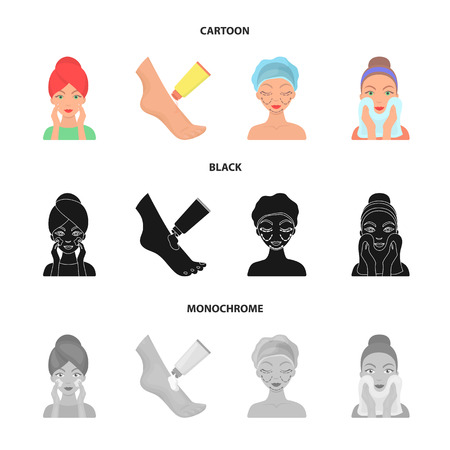 Face care, plastic surgery, face wiping, moisturizing the feet. Skin Care set collection icons in cartoon,black,monochrome style vector symbol stock illustration web.