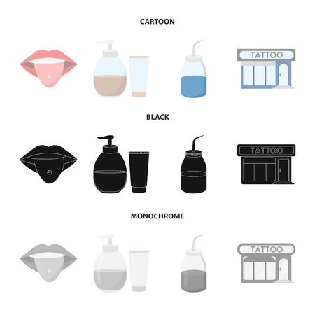 Piercing dans la langue, gel, sallon. Tatouage mis icônes de la collection en dessin animé, noir, style monochrome vecteur symbole stock illustration web.