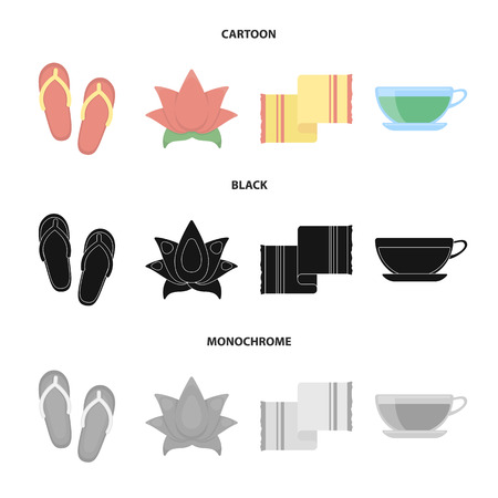 Flip-flops for the pool, lotus flower with petals, yellow towel with fringe, cup with tea, drink. Spa set collection icons in cartoon,black,monochrome style vector symbol stock illustration web.
