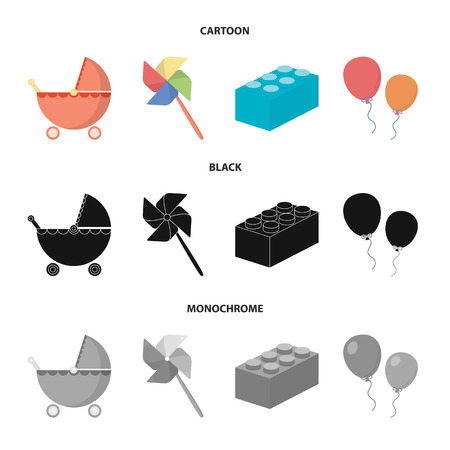Stroller, windmill, lego, balloons.Toys set collection icons in cartoon,black,monochrome style vector symbol stock illustration web.