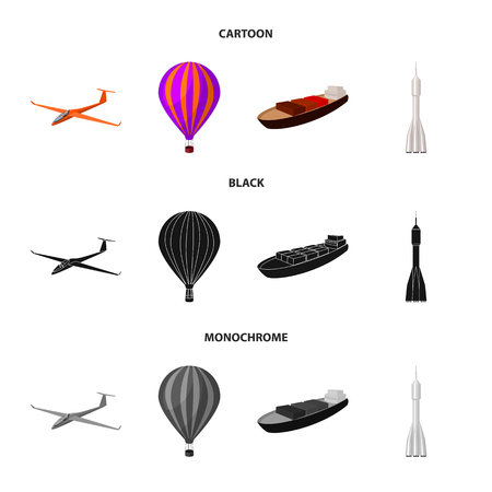 A drone, a glider, a balloon, a transportation barge, a space rocket transport modes. Transport set collection icons in cartoon,black,monochrome style vector symbol stock illustration web. Banque d'images - 103429605